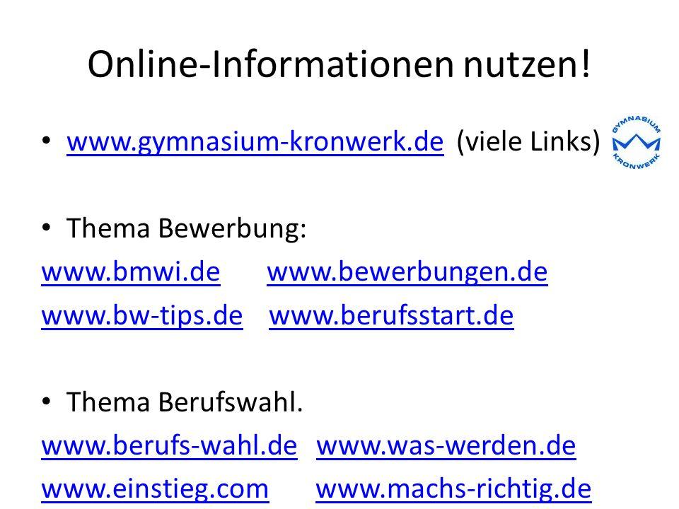 Online-Informationen nutzen!