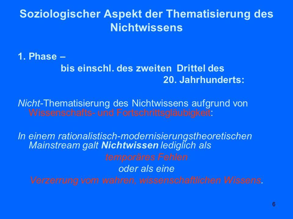 Soziologischer Aspekt der Thematisierung des Nichtwissens