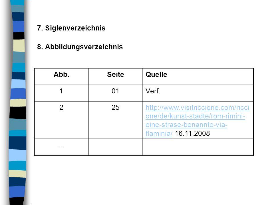 7. Siglenverzeichnis 8. Abbildungsverzeichnis. Abb. Seite. Quelle. 1. 01. Verf. 2. 25.