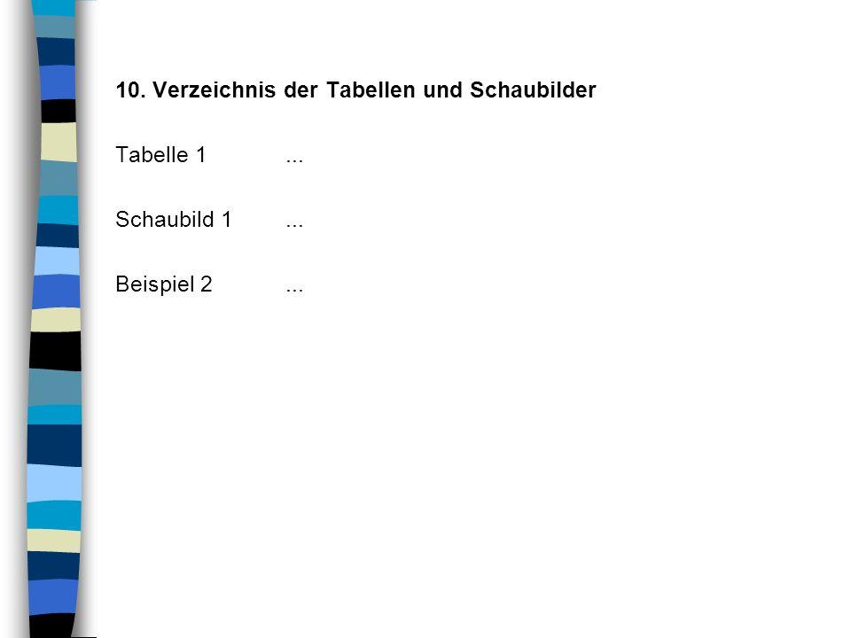 10. Verzeichnis der Tabellen und Schaubilder