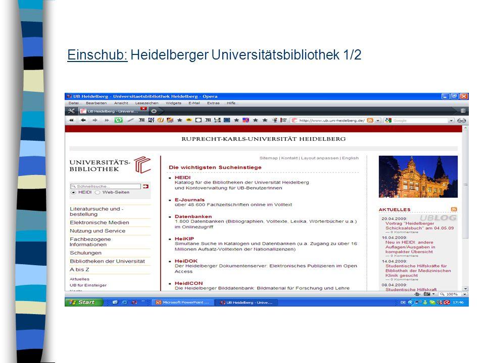 Einschub: Heidelberger Universitätsbibliothek 1/2