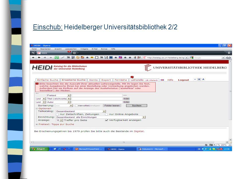 Einschub: Heidelberger Universitätsbibliothek 2/2
