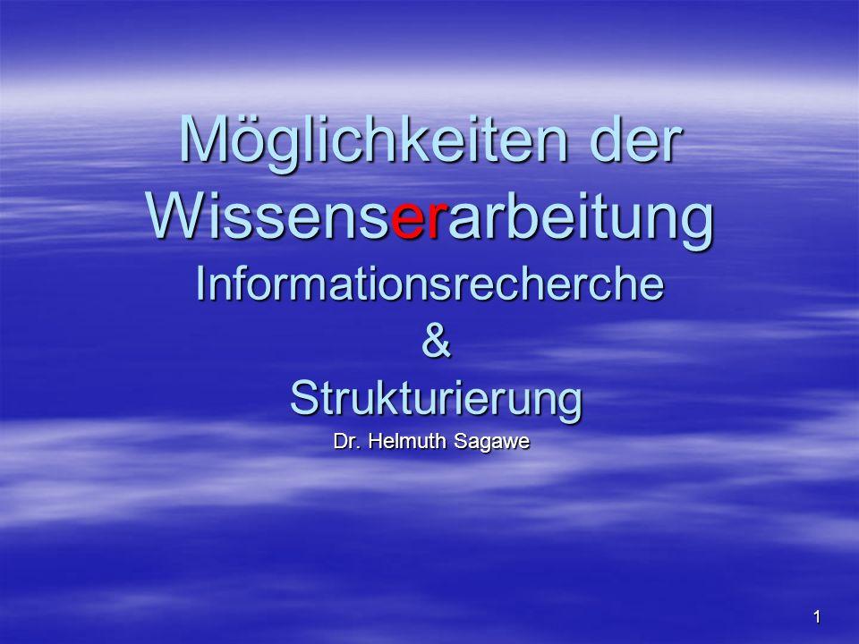 Möglichkeiten der Wissenserarbeitung Informationsrecherche & Strukturierung