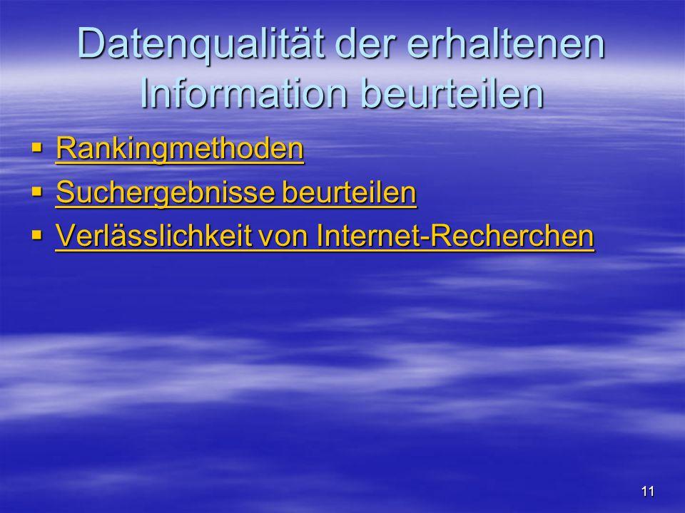 Datenqualität der erhaltenen Information beurteilen