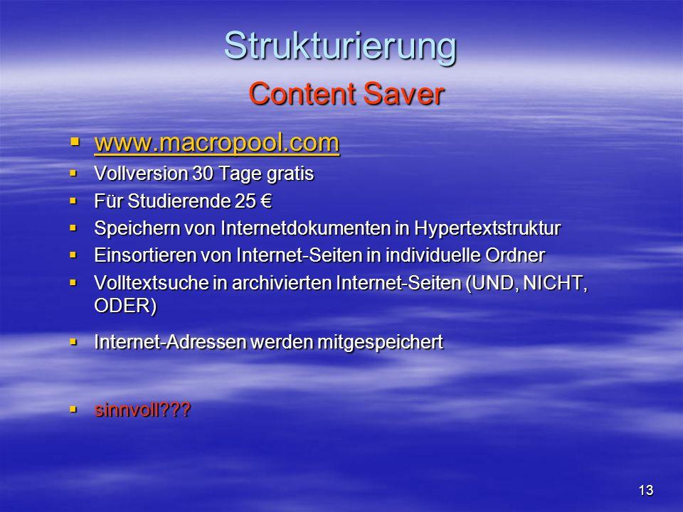 Strukturierung Content Saver