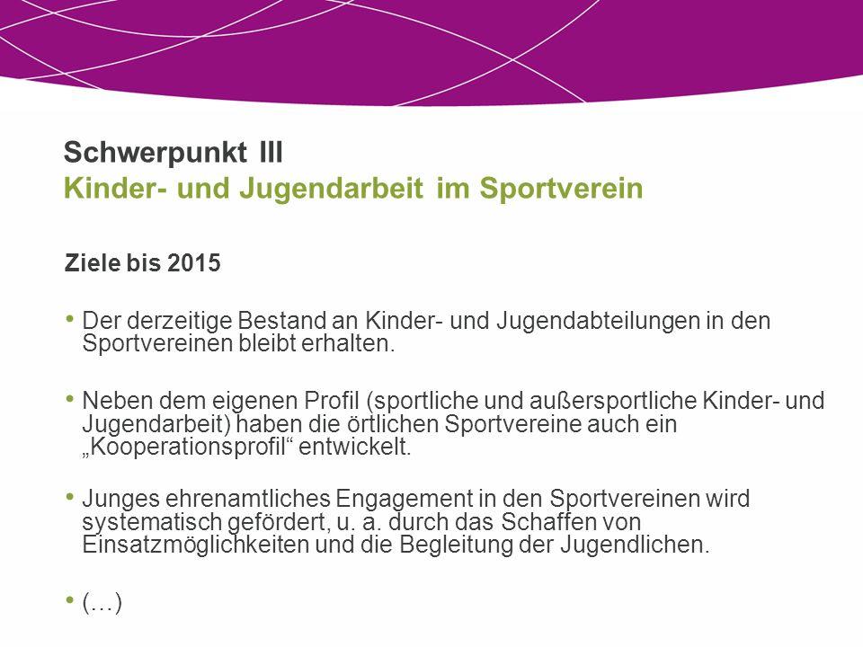 Schwerpunkt III Kinder- und Jugendarbeit im Sportverein