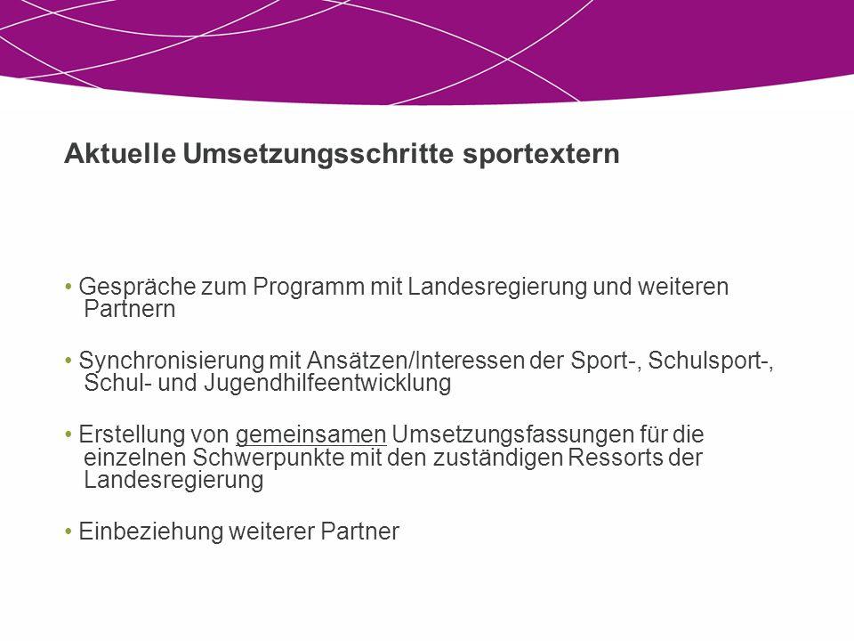 Aktuelle Umsetzungsschritte sportextern