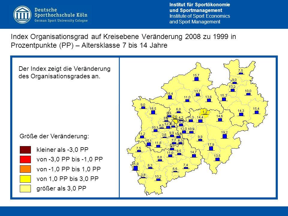Index Organisationsgrad auf Kreisebene Veränderung 2008 zu 1999 in Prozentpunkte (PP) – Altersklasse 7 bis 14 Jahre