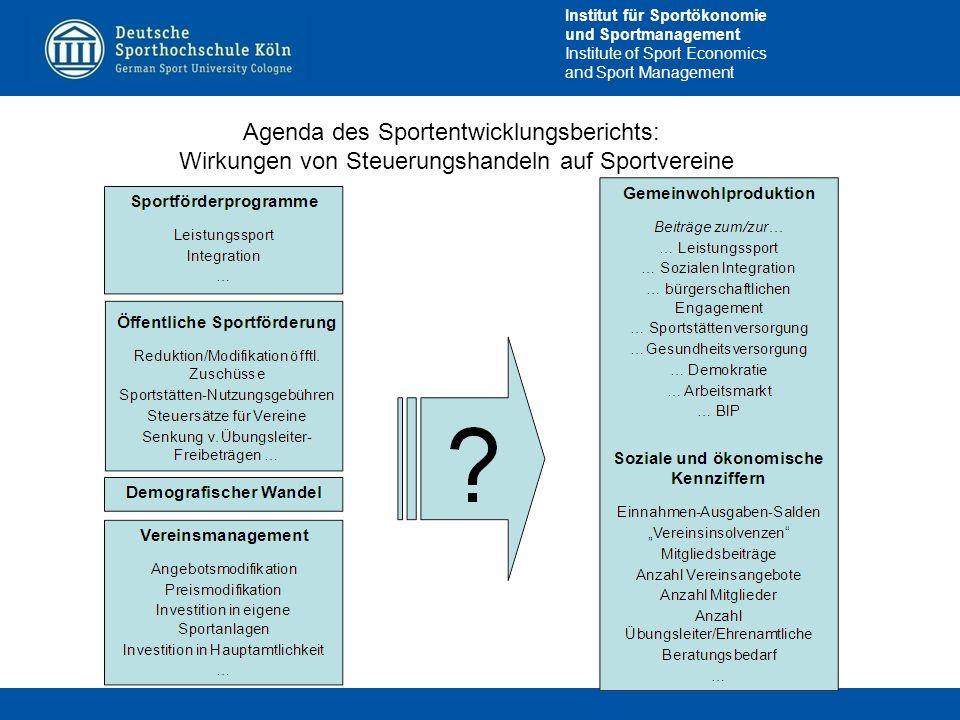 Agenda des Sportentwicklungsberichts: Wirkungen von Steuerungshandeln auf Sportvereine