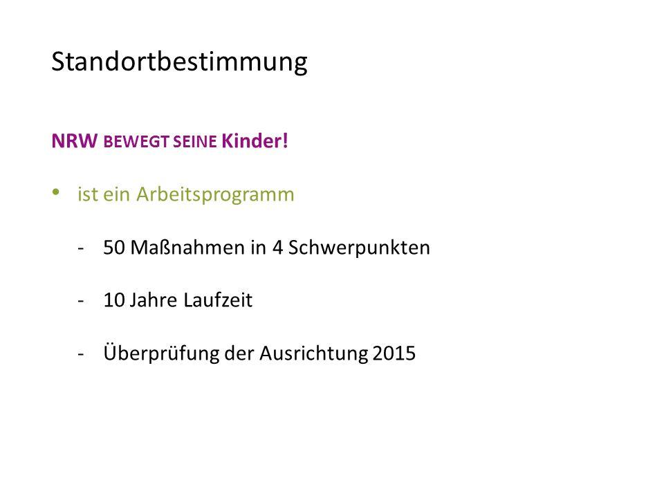 Standortbestimmung NRW BEWEGT SEINE Kinder! ist ein Arbeitsprogramm