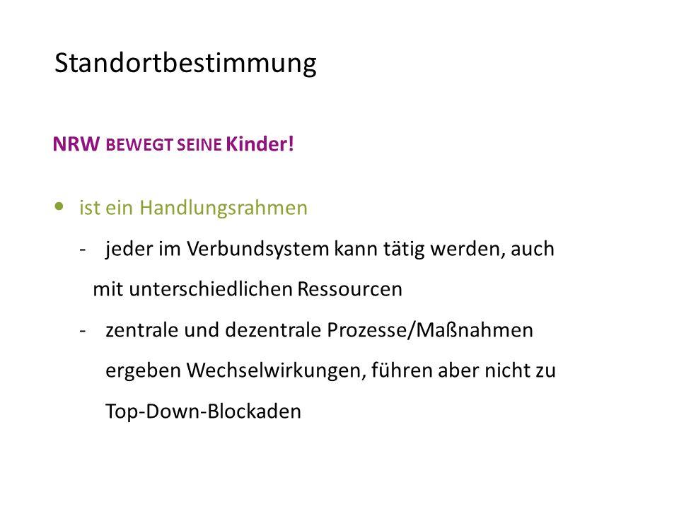 Standortbestimmung NRW BEWEGT SEINE Kinder! ist ein Handlungsrahmen