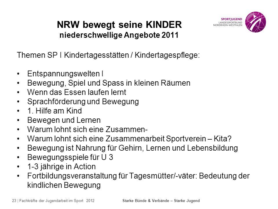 NRW bewegt seine KINDER niederschwellige Angebote 2011