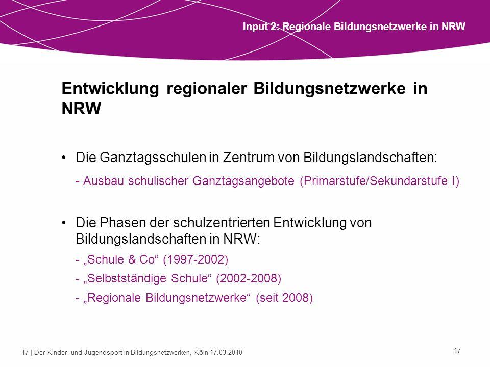 Entwicklung regionaler Bildungsnetzwerke in NRW