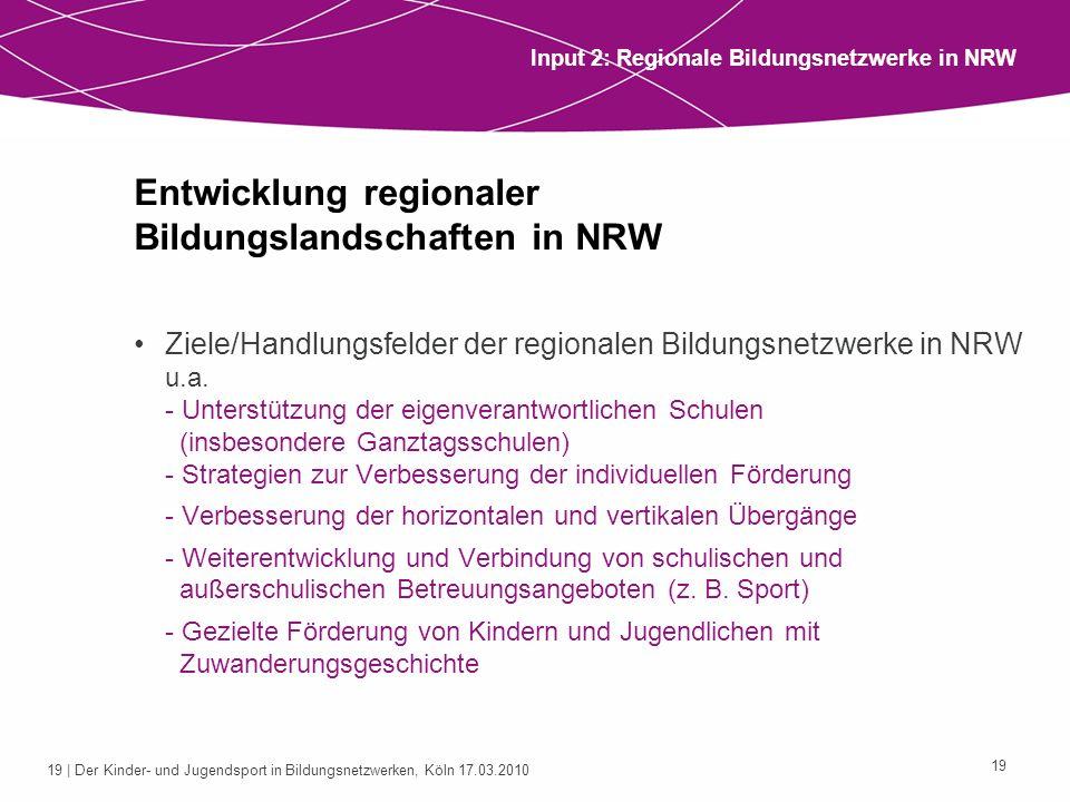 Entwicklung regionaler Bildungslandschaften in NRW