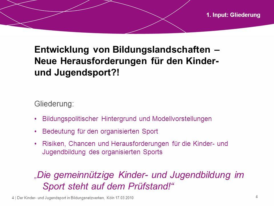 1. Input: Gliederung Entwicklung von Bildungslandschaften – Neue Herausforderungen für den Kinder- und Jugendsport !