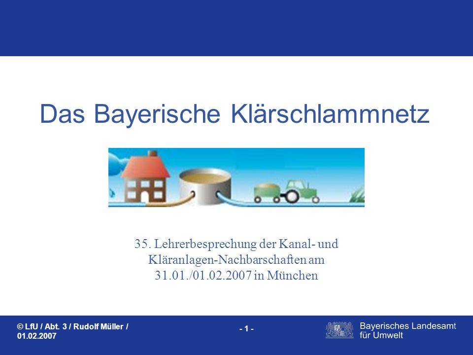 Das Bayerische Klärschlammnetz