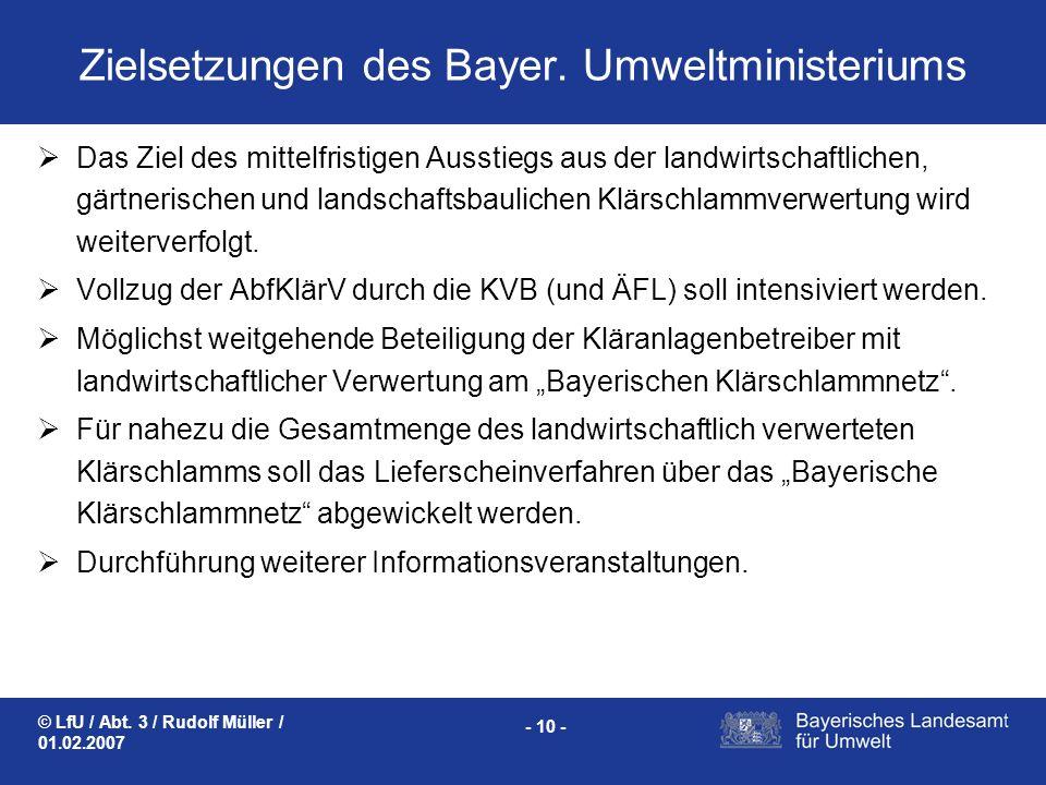 Zielsetzungen des Bayer. Umweltministeriums
