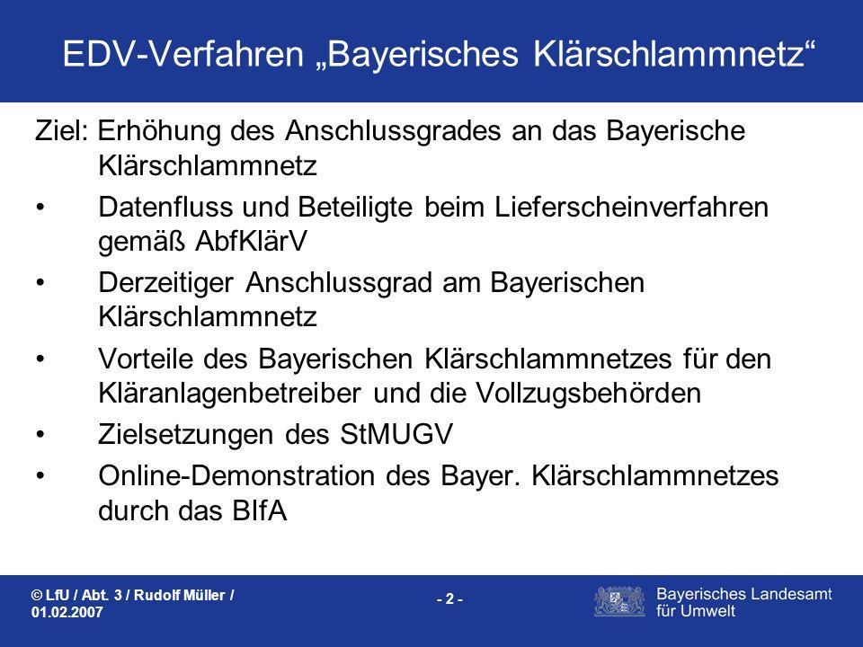 """EDV-Verfahren """"Bayerisches Klärschlammnetz"""