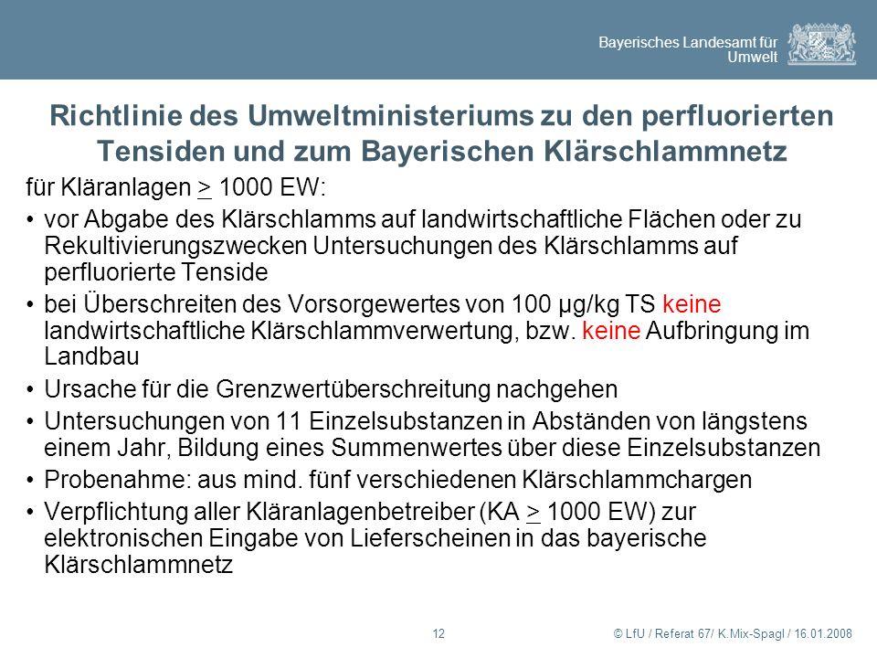 Richtlinie des Umweltministeriums zu den perfluorierten Tensiden und zum Bayerischen Klärschlammnetz