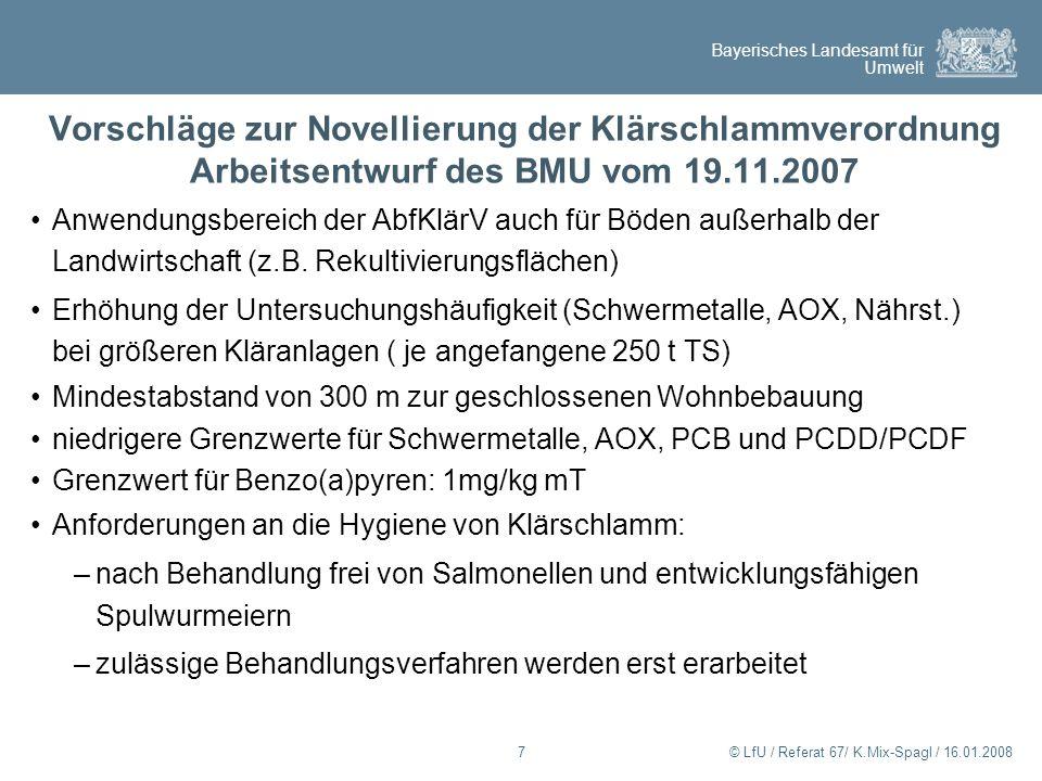 Vorschläge zur Novellierung der Klärschlammverordnung Arbeitsentwurf des BMU vom 19.11.2007