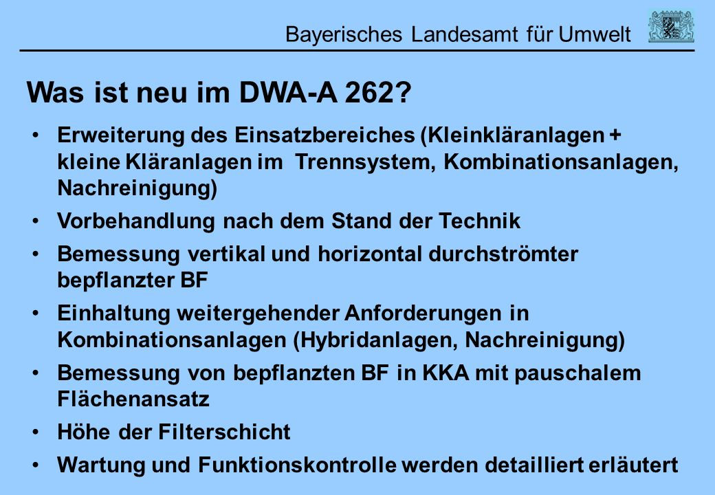 Was ist neu im DWA-A 262