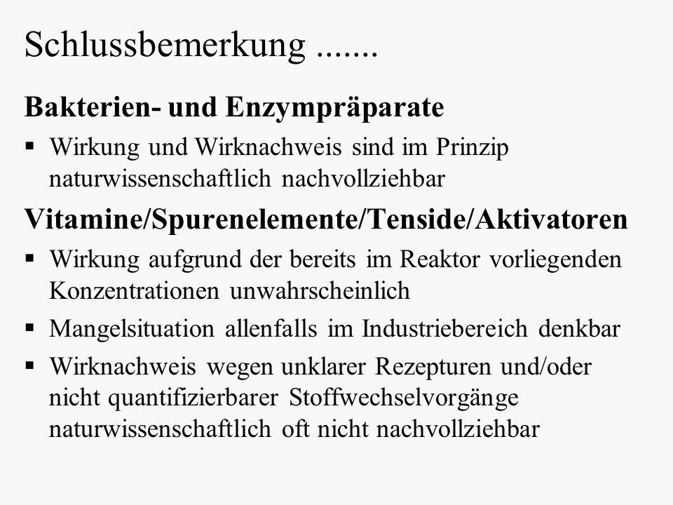 Schlussbemerkung ....... Bakterien- und Enzympräparate
