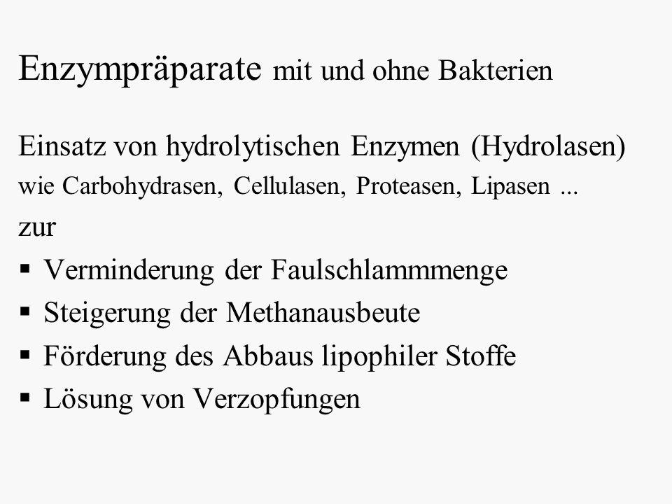 Enzympräparate mit und ohne Bakterien