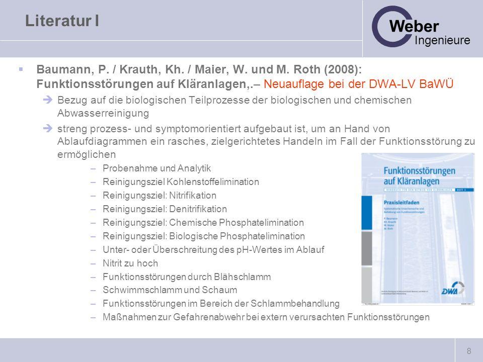 Literatur I Baumann, P. / Krauth, Kh. / Maier, W. und M. Roth (2008): Funktionsstörungen auf Kläranlagen,.– Neuauflage bei der DWA-LV BaWÜ.