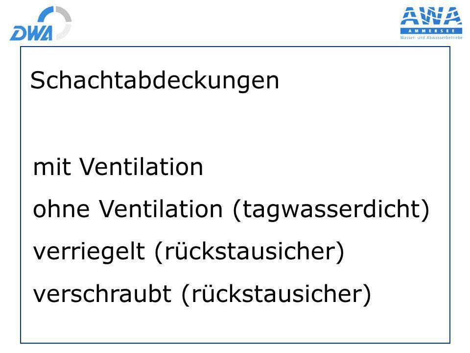 Schachtabdeckungen mit Ventilation. ohne Ventilation (tagwasserdicht) verriegelt (rückstausicher)