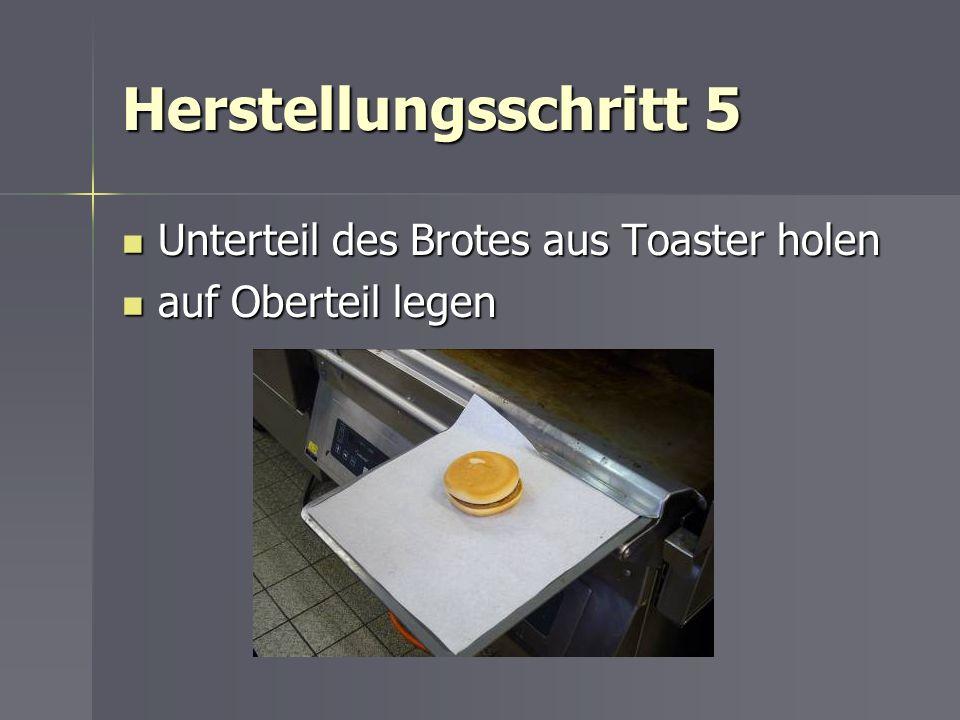 Herstellungsschritt 5 Unterteil des Brotes aus Toaster holen