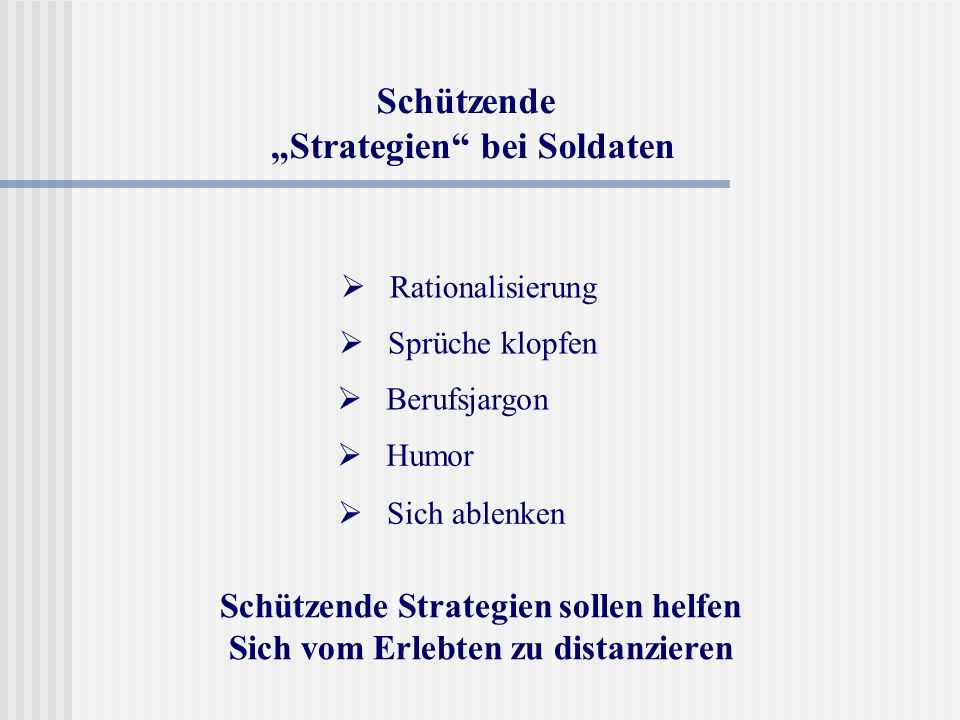 """Schützende """"Strategien bei Soldaten"""