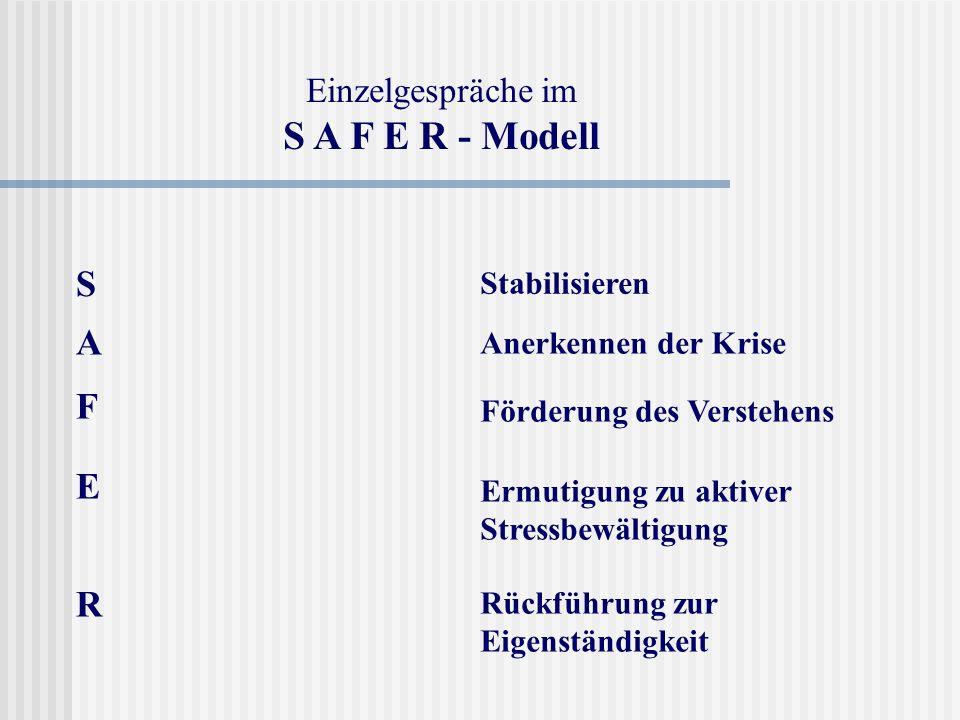 S A F E R - Modell S A F E R Einzelgespräche im Stabilisieren