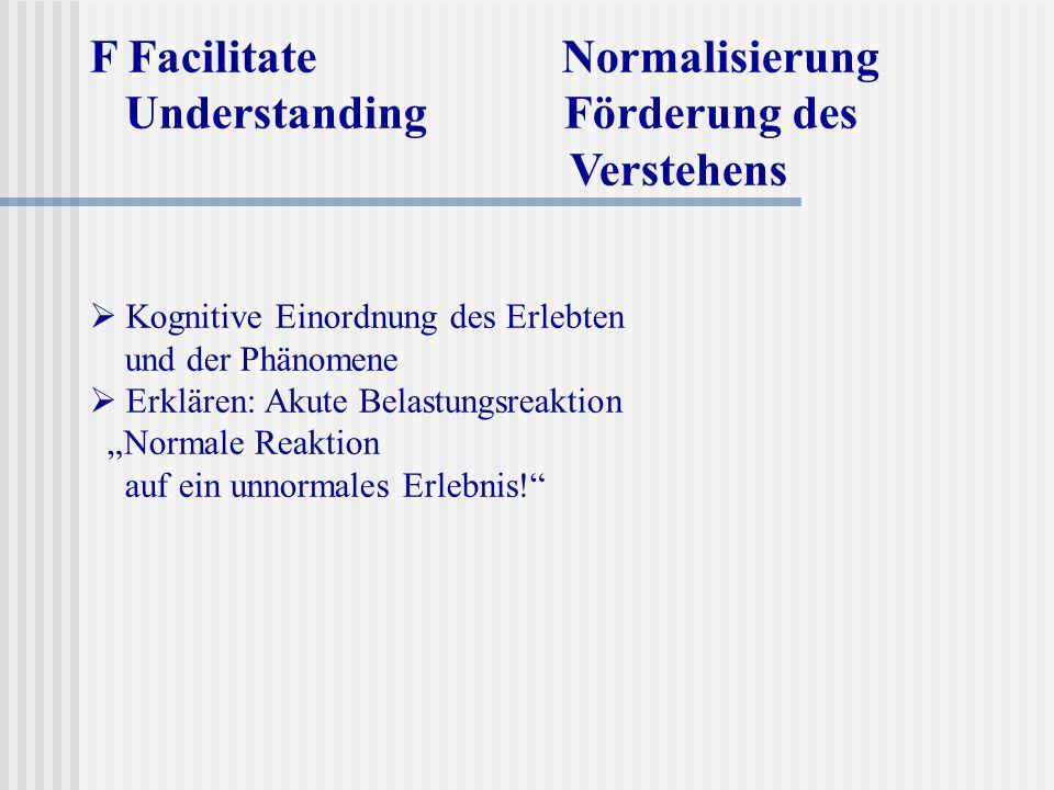 F Facilitate Normalisierung Understanding Förderung des Verstehens