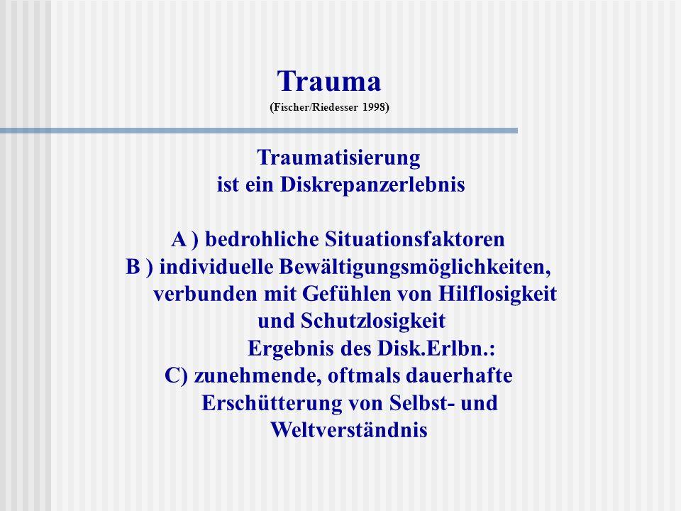 Trauma Traumatisierung ist ein Diskrepanzerlebnis