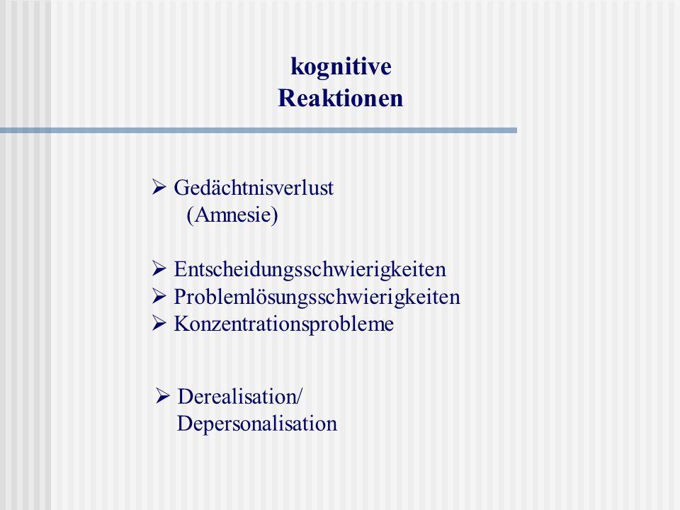 kognitive Reaktionen  Gedächtnisverlust (Amnesie)