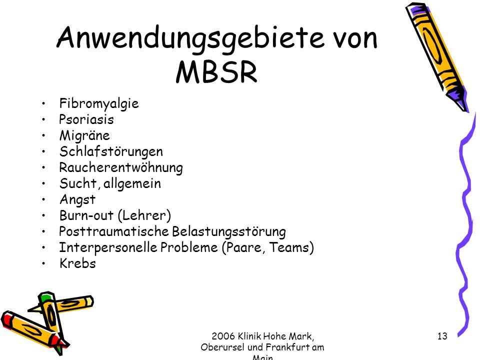 Anwendungsgebiete von MBSR