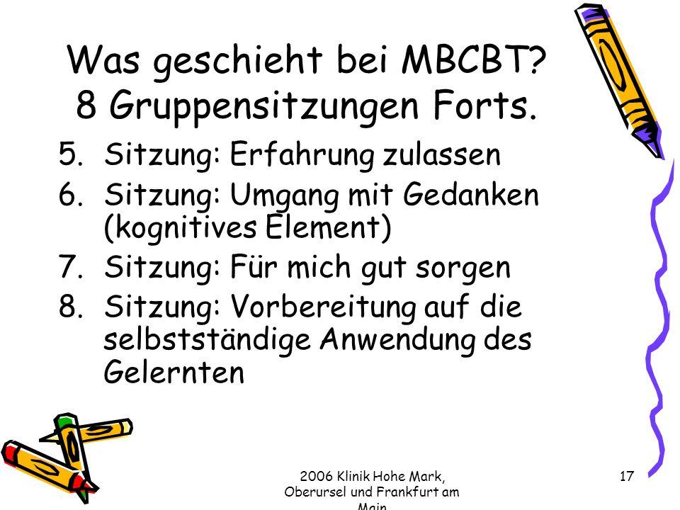 Was geschieht bei MBCBT 8 Gruppensitzungen Forts.