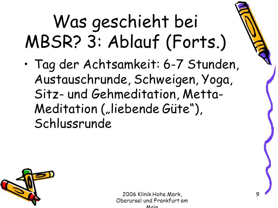 Was geschieht bei MBSR 3: Ablauf (Forts.)