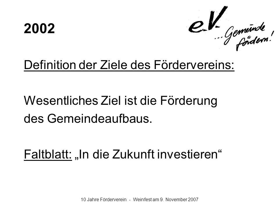 2002 Definition der Ziele des Fördervereins: