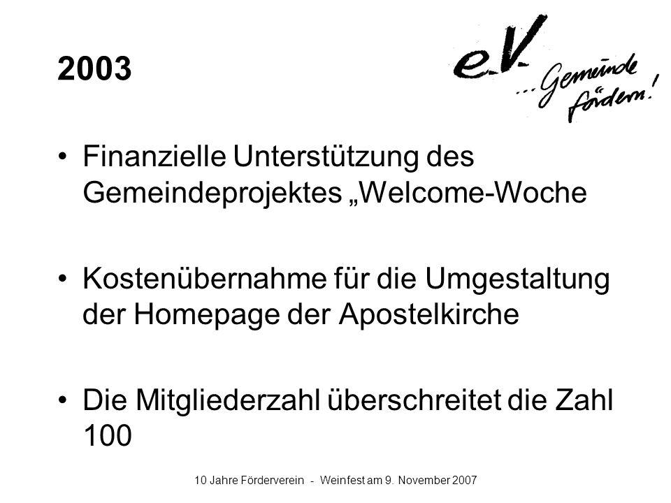 """2003 Finanzielle Unterstützung des Gemeindeprojektes """"Welcome-Woche"""