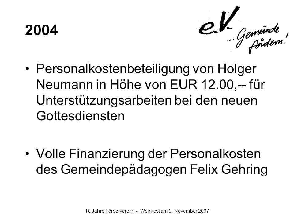 2004 Personalkostenbeteiligung von Holger Neumann in Höhe von EUR 12.00,-- für Unterstützungsarbeiten bei den neuen Gottesdiensten.