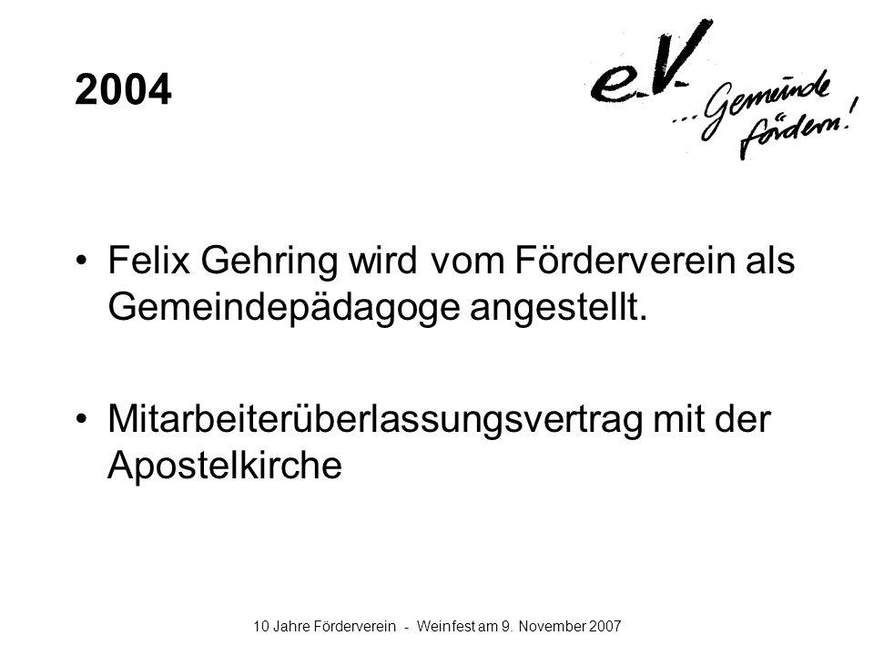 2004 Felix Gehring wird vom Förderverein als Gemeindepädagoge angestellt.