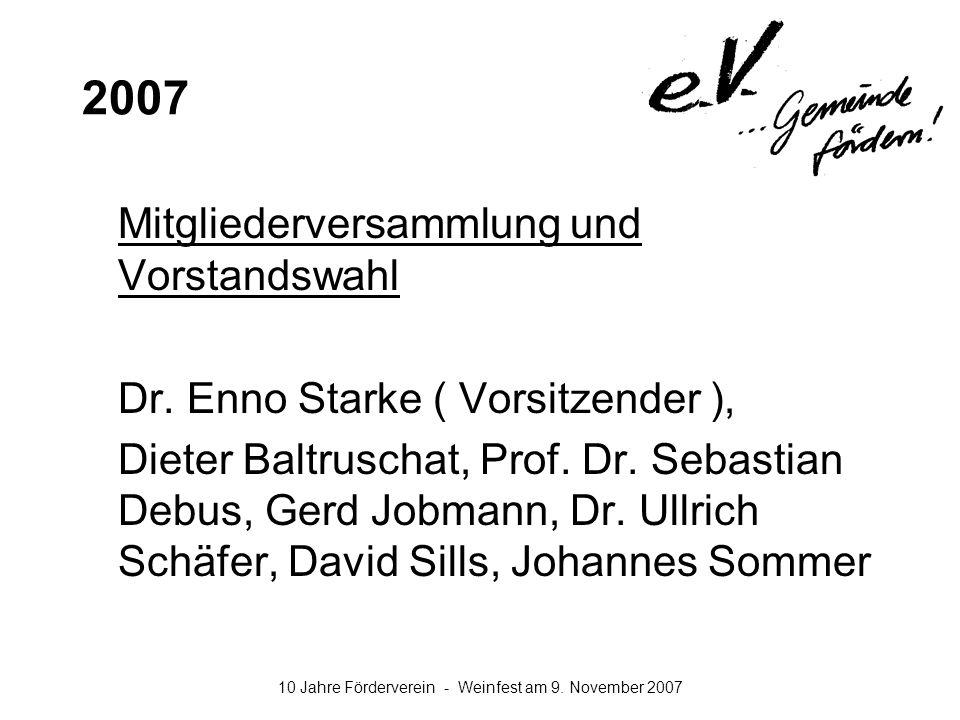 2007 Mitgliederversammlung und Vorstandswahl