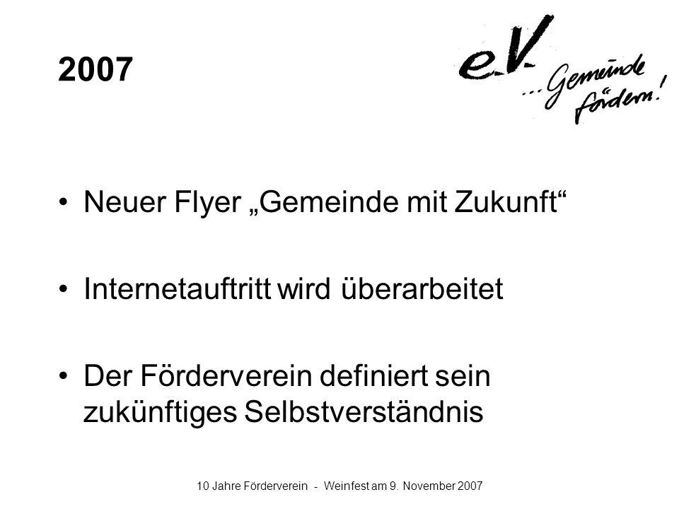 """2007 Neuer Flyer """"Gemeinde mit Zukunft"""