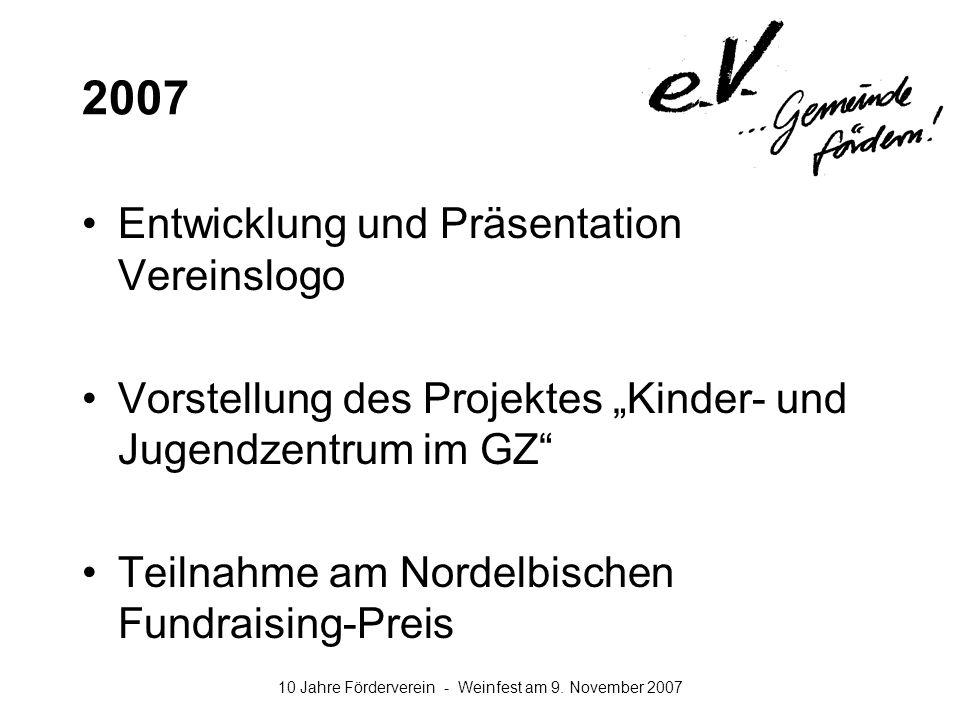 2007 Entwicklung und Präsentation Vereinslogo