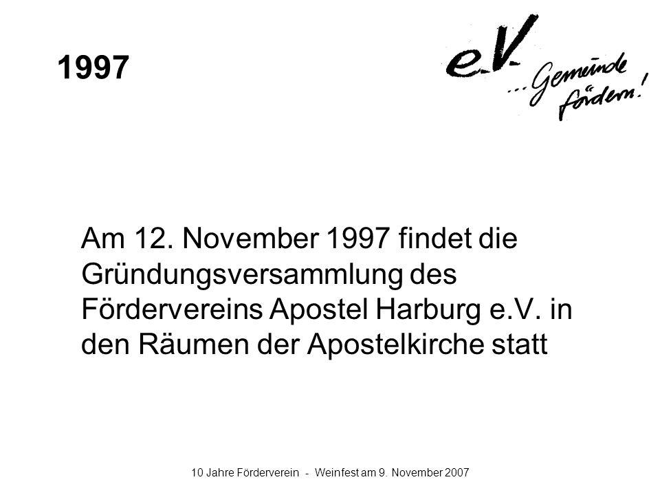 1997 Am 12. November 1997 findet die Gründungsversammlung des Fördervereins Apostel Harburg e.V.