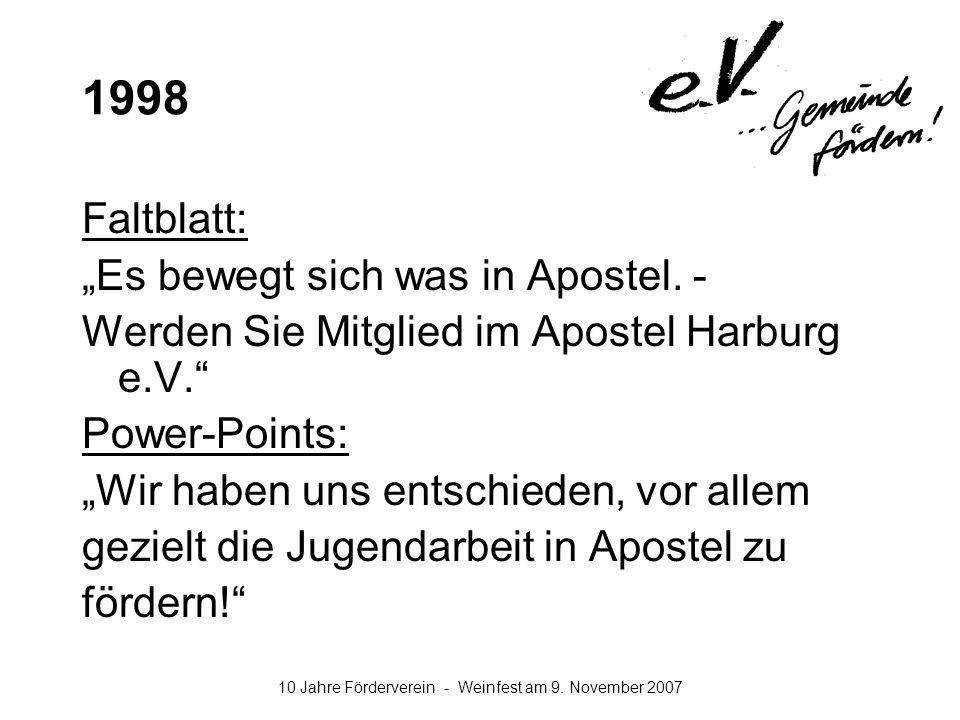 """1998 Faltblatt: """"Es bewegt sich was in Apostel. -"""