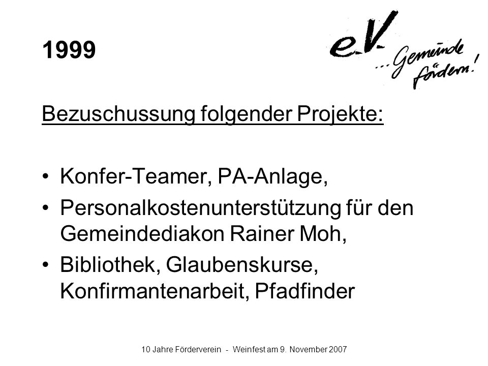 1999 Bezuschussung folgender Projekte: Konfer-Teamer, PA-Anlage,
