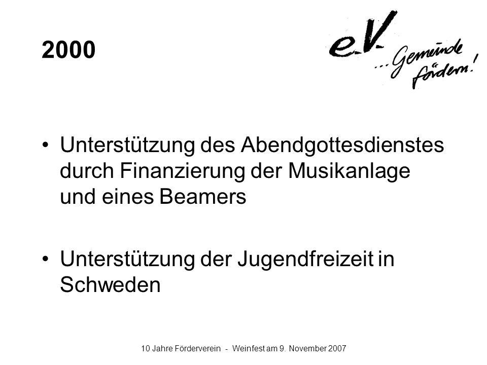 2000 Unterstützung des Abendgottesdienstes durch Finanzierung der Musikanlage und eines Beamers.