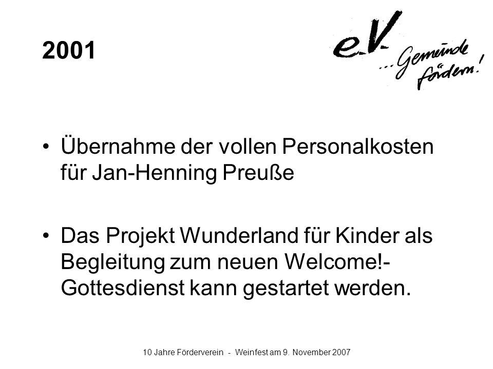2001 Übernahme der vollen Personalkosten für Jan-Henning Preuße